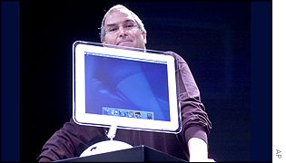 Apple CEO Steve Jobs with the new iMac, AP