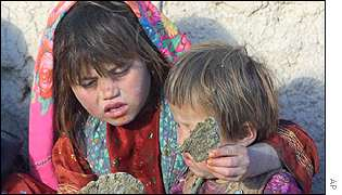 Children eating grass bread in Bonavash
