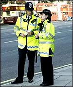 Police officers on patrol in London