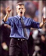 Javier Aguirre shouts instructions from the touchline