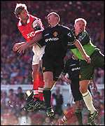 [ image: Tony Adams heads Arsenal in front]