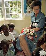[ image: Princess Anne visiting an AIDS support group earlier]