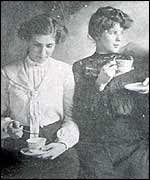 Liz's mother and sister drinking tea