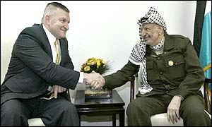 US peace envoy Anthony Zinni meets Palestinian leader Yasser Arafat in Ramallah