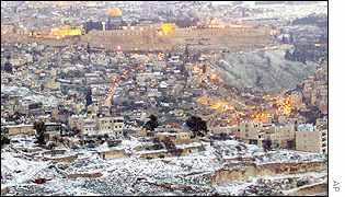 Old Jerusalem shrouded by snow