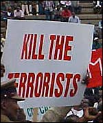 'Kill the terorrists' placard