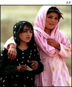 Afghan girls celebrating Eid feast