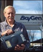 Trevor Baylis outside the Baygen wind-up radio factory, BBC
