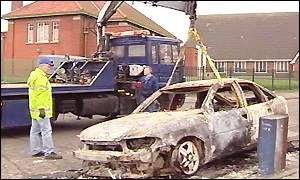 Cars were burned out in the riots