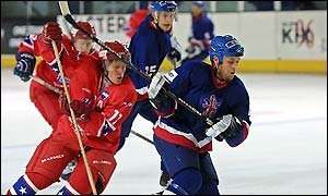 The GB ice hockey team in action