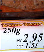 Price label in Baeckerei Brunner