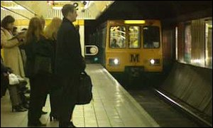 passengers waiting for Tyneside metro train