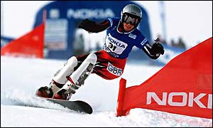 McKenna in action in a parallel giant slalom but half-pipe is her favoured discipline