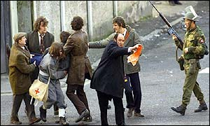 Scenes from the film Bloody Sunday
