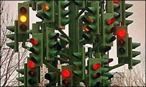 Traffic light sculpture in London's Docklands, PA