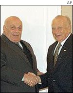 Turkish Cypriot leader Rauf Denktash and Greek Cypriot leader Glafcos Clerides