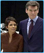 Pierce Brosnan with his Bond co-star Halle Berry