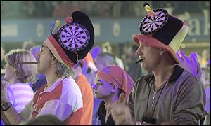 Supporters at the quarter final matches in the Embassy World Darts Championships at the Lakeside Country Club