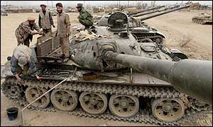 Northern Alliance troops with tank