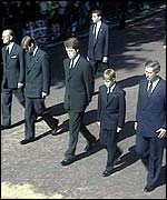 Harry (2nd right) with, from right, Charles, Earl Spencer, Prince William, Prince Philip
