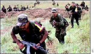 FARC rebels during training