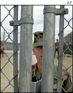 Guard at gate of Guantanamo naval base