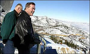 Security officials Tom Ridge and Joe Allbaugh overlook Utah Olympic Park
