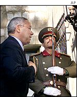 Colin Powell entering the Presidential Palace in Kabul