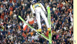 Adam Malysz ski jumping at the World Cup in the western German town of Willingen