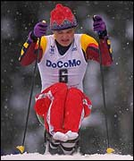 Harald Guldahl of Norway in action during the Mens Cross Country Sitski at the 1998 Winter Paralympics