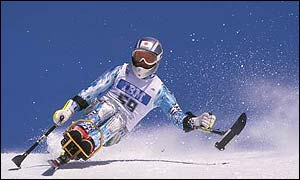 Yuji Yamaguchi of Japan in action during the Mens Super G LW11 Class at the 1998 Winter Paralympics in Nagano