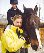 Hannah Fennell and riding pupil