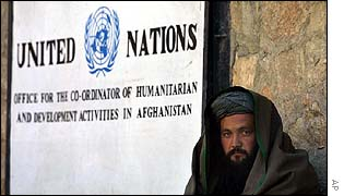 Afghan man sits outside UN office in Kabul