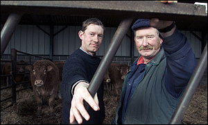 Paul and Michael Burn, who have restored cattle to their Northumberland farm