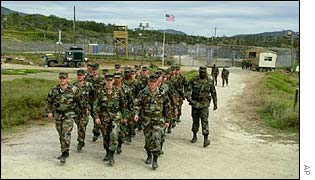US Army soldiers on patrol at Guantanamo Bay, Cuba