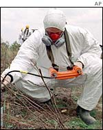Experts measuring radioactivity near Chernobyl