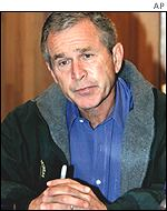 President Bush gives a speech from Camp David after 11 September attacks