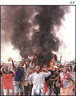Youths burn tyres in Lagos, June, 2000