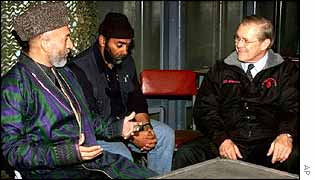 Hamid Karzai and Donald Rumsfeld