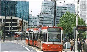 A Tramlink tram in Wellesley Road, Croydon