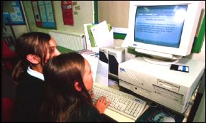 Girls working on computer, BBC