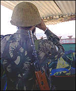 Indian solder on lookout