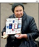 Cigarette seller in Russia