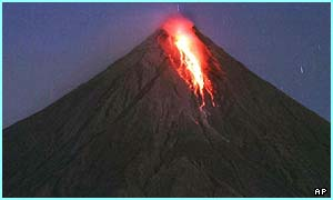 Lava starts to come out of the Mayon volcano near Manila, Spain