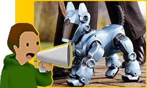 A Sony Aibo robot dog
