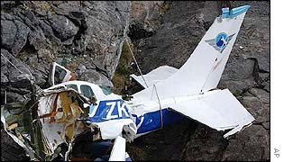 Crashed plane. Photo: AP/Southland Times