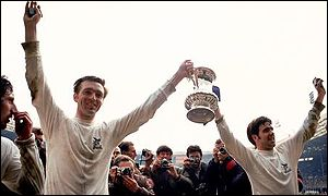 Jeff Astle (left) lifts the FA Cup with team-mate Bobby Hope
