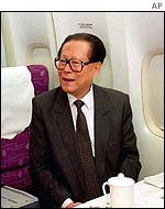 President Jiang aboard an unidentified airliner last year