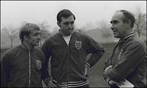 From left to right: Francis Lee, Jeff Astle and Sir Alf Ramsey at an England training camp in 1969