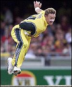 Andy Bichel in action at the Gabba
